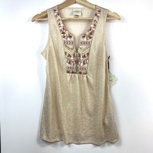 Knox Rose New Metallic Embroidered Top Sequins